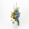 RE_Flower Arrangement in White Vase with Blue Flowers, 2017, Glazed Paperclay, 48x25x25cm 03