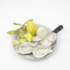 RE_Plate with Oysters, Oysterknife, Lemons and Leaf, 2017, Glazed Paperclay, 24x22x8cm 07